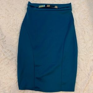 Blue pin skirt with gold belt